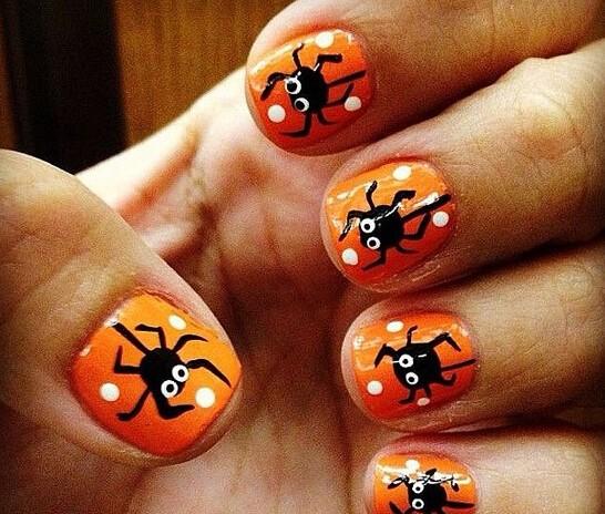 可爱的蜘蛛美甲图案